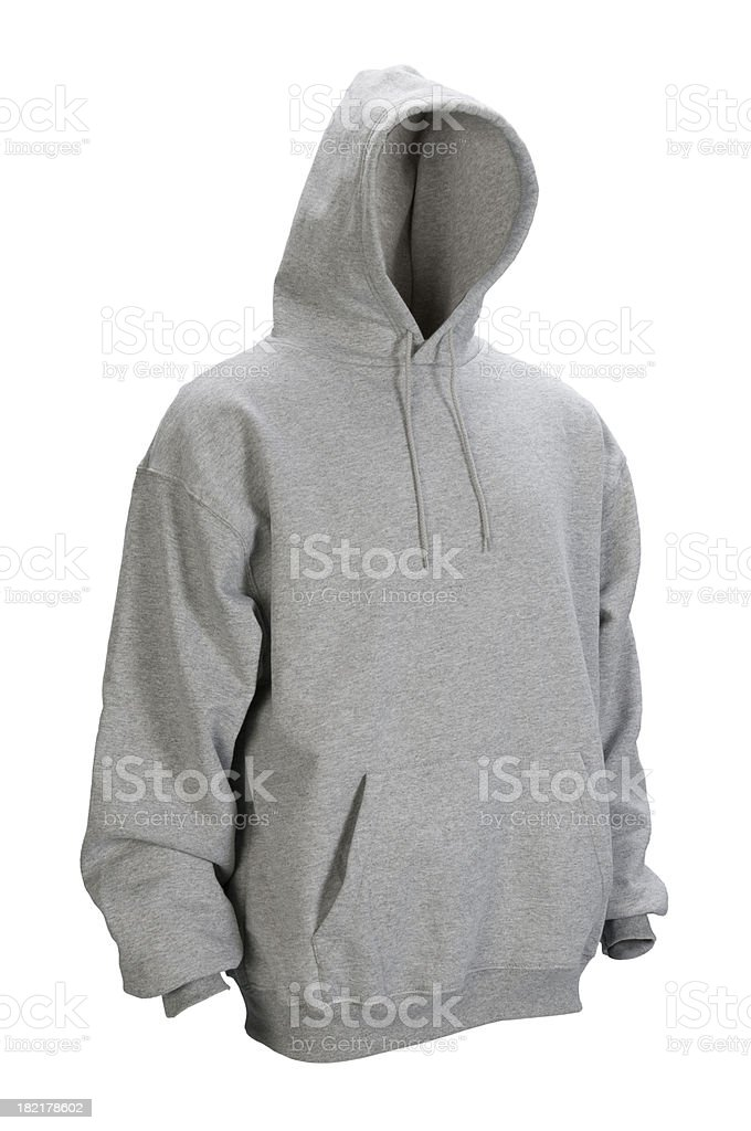 Gray hooded, blank sweatshirt front-isolated on white w/clipping path stock photo