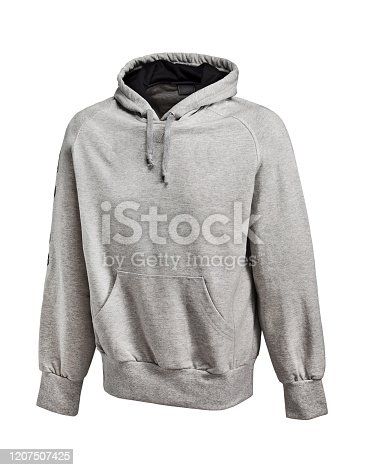 Gray hooded sweatshirt isolated on white background (with clipping path)