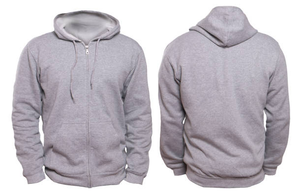 Gray Hoodie Mock up Blank sweatshirt mock up, front, and back view, isolated on white. Plain gray hoodie mockup. Hoody design presentation. Jumper for print. Blank clothes sweat shirt sweater hood clothing stock pictures, royalty-free photos & images