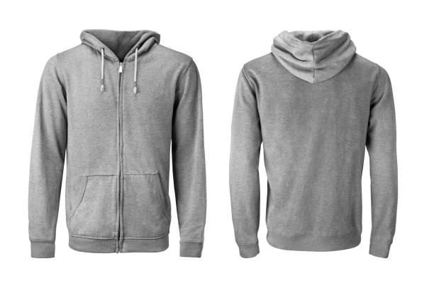 灰色連帽衫或運動衫模型在白色背景上等乳 - 外套 個照片及圖片檔