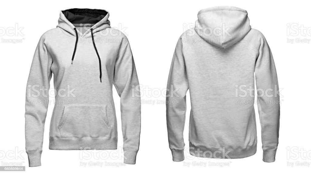 gray hoodie, sweatshirt mockup, isolated on white background stock photo