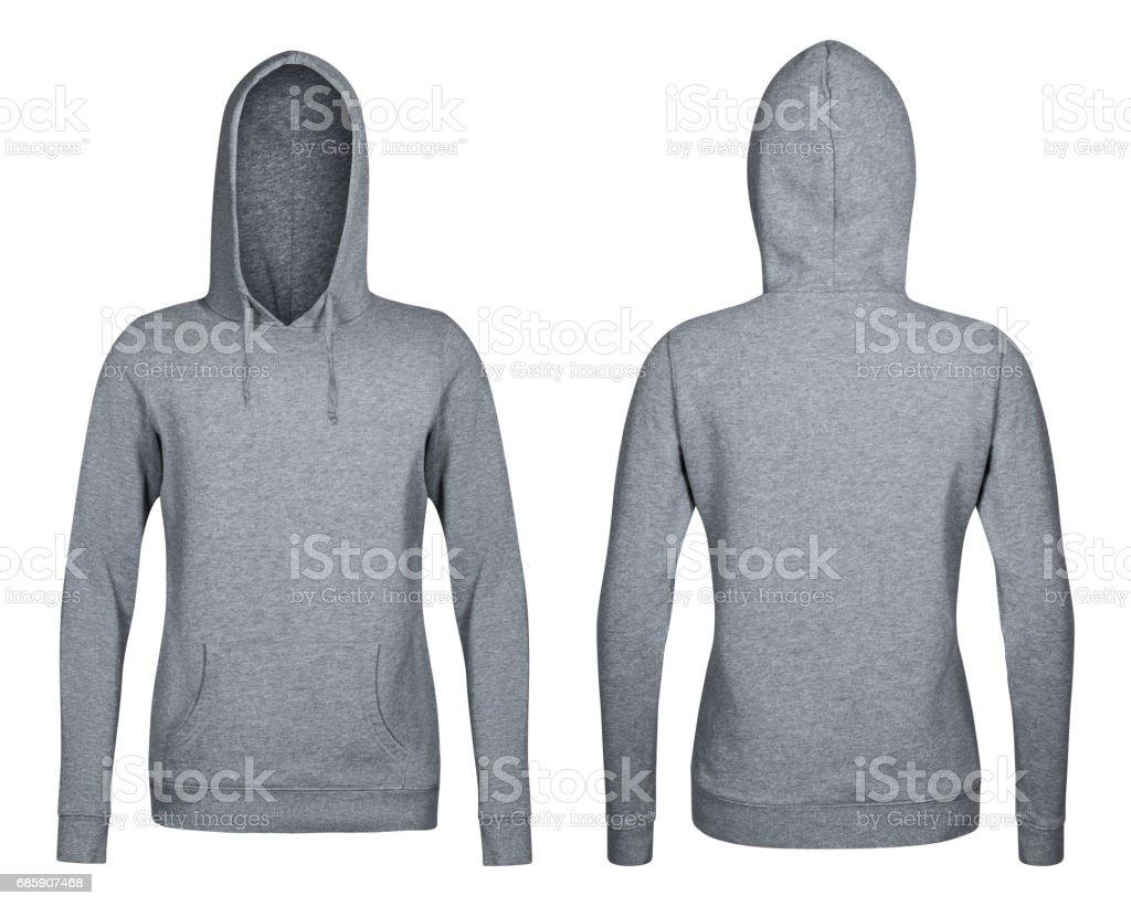 gray hoodie, sweatshirt mockup, white background stock photo