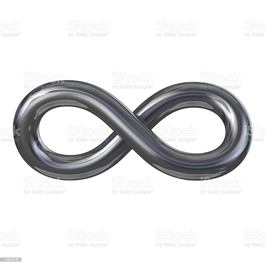 A gray infinity symbol on a white background stock photo