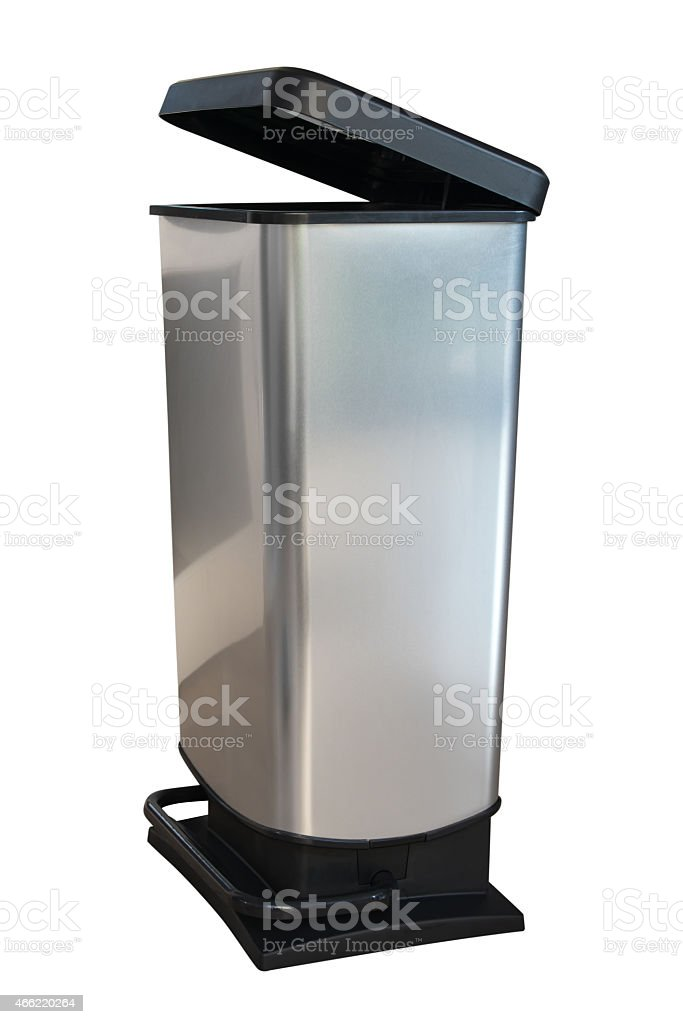 Gray kitchen dustbin isolated on white background stock photo