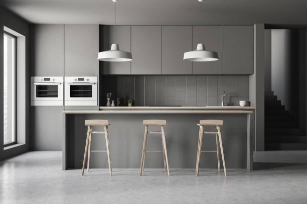 gri mutfak bar ile iç - mutfak stok fotoğraflar ve resimler