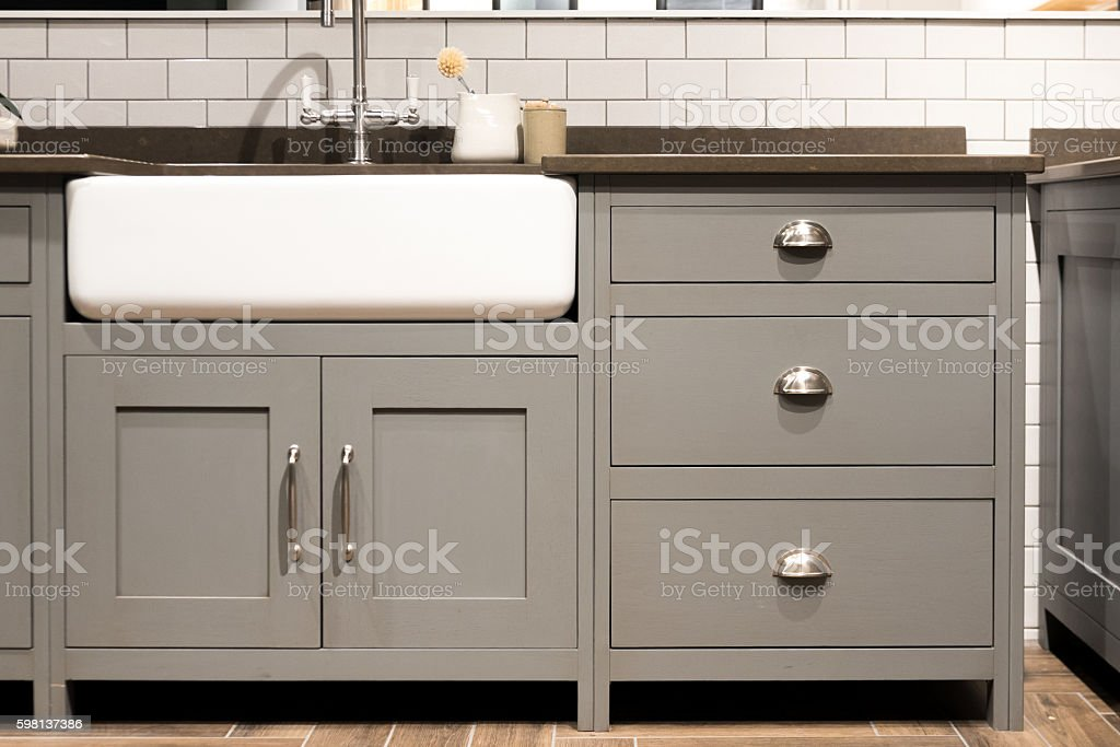 Gray Kitchen Sink stock photo