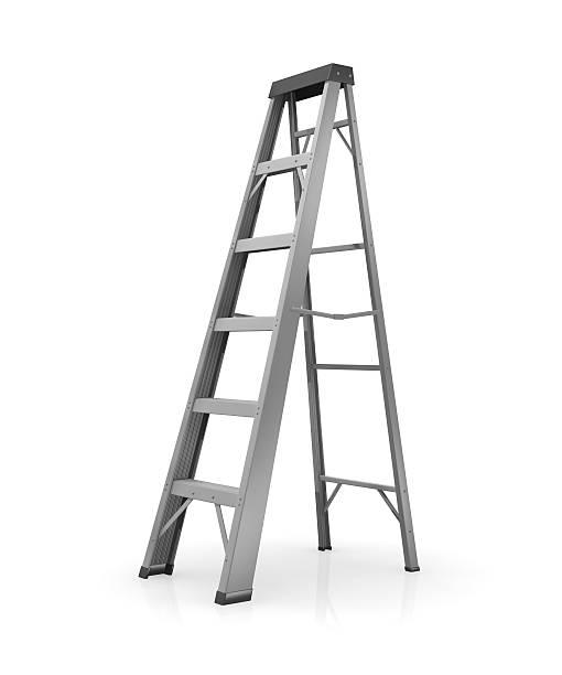 gray ladder on a white background - ladder stockfoto's en -beelden