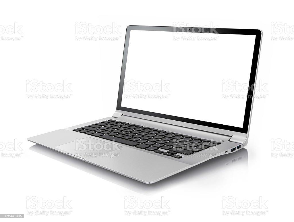 Gray laptop on white background stock photo