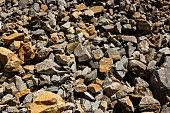 Gray large karst rock stones and debris background