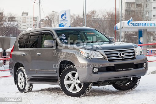 Novosibirsk, Russia - 12.20.2019: Gray Lexus GX460 2010 release front view on the car snow parking after preparing for sale