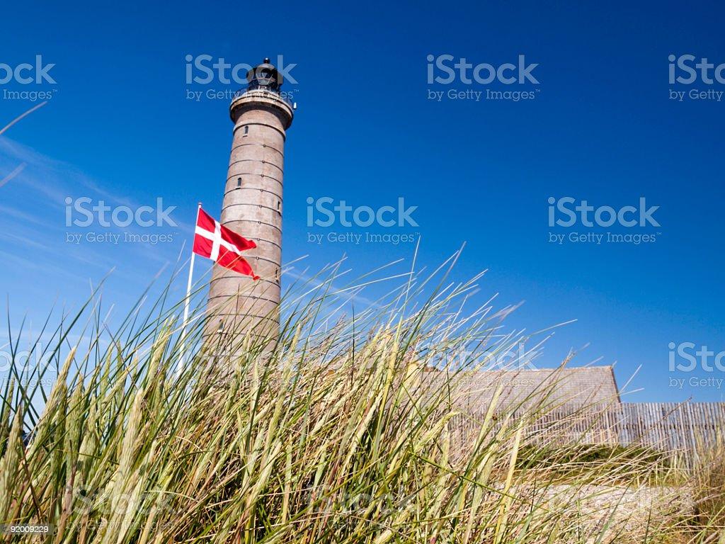 Gray lighthouse in Skagen, Denmark stock photo
