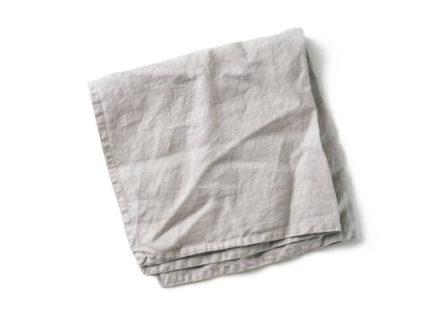grå linneservett isolerad på vit - servett bildbanksfoton och bilder