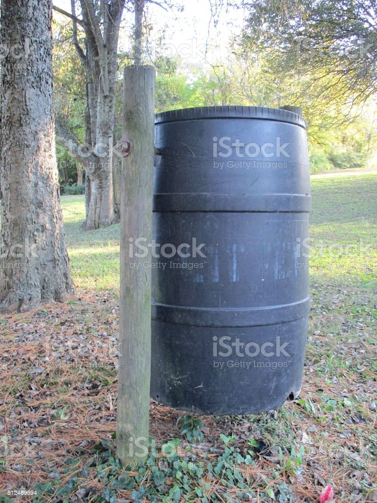 Gray Litter Barrel in Park During Early Fall stock photo