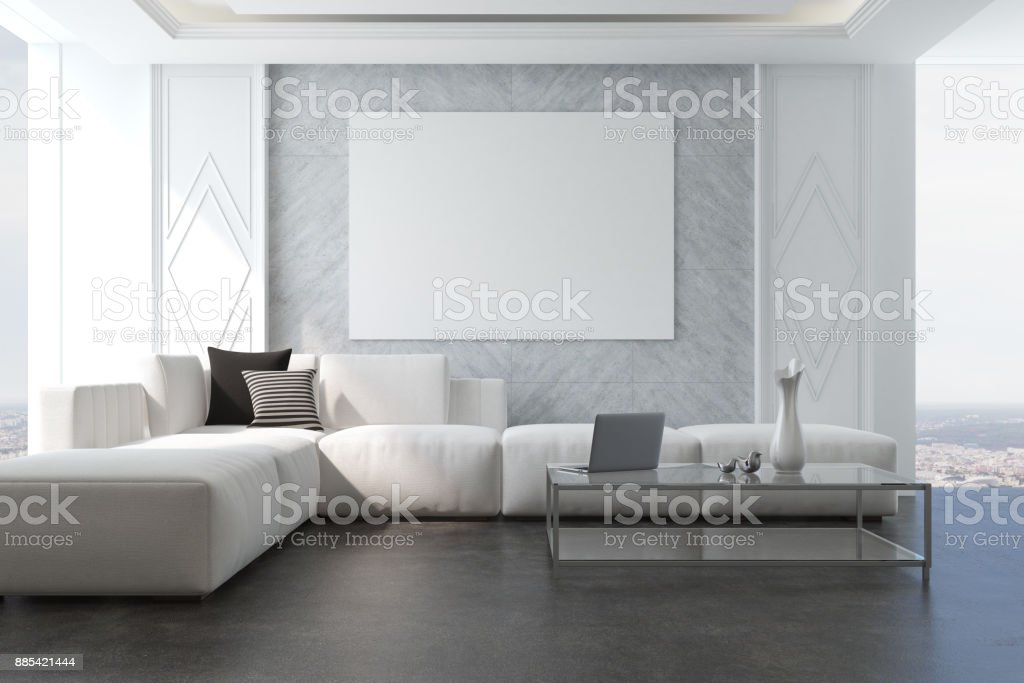 Gray living room armchair and poster stock photo