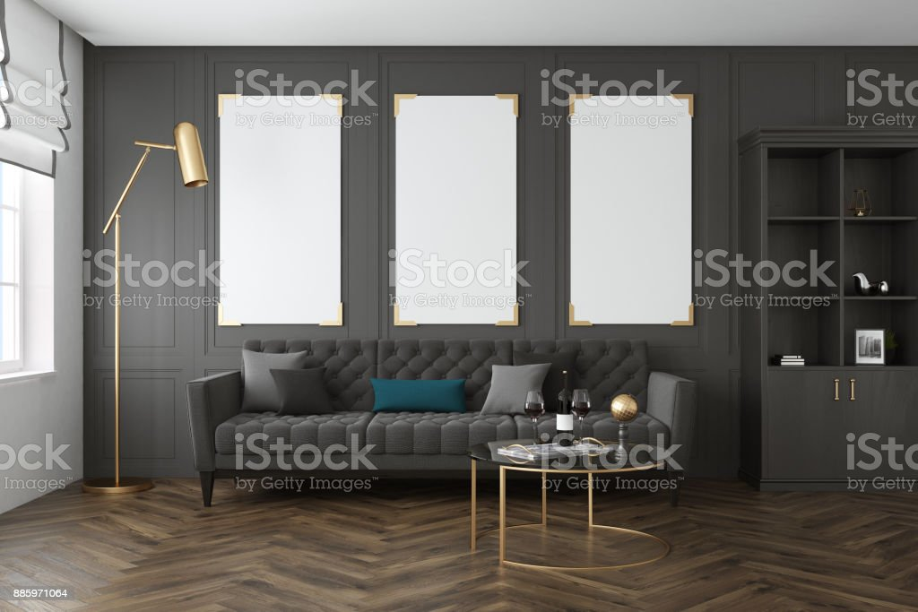 Gray living room, poster gallery stock photo