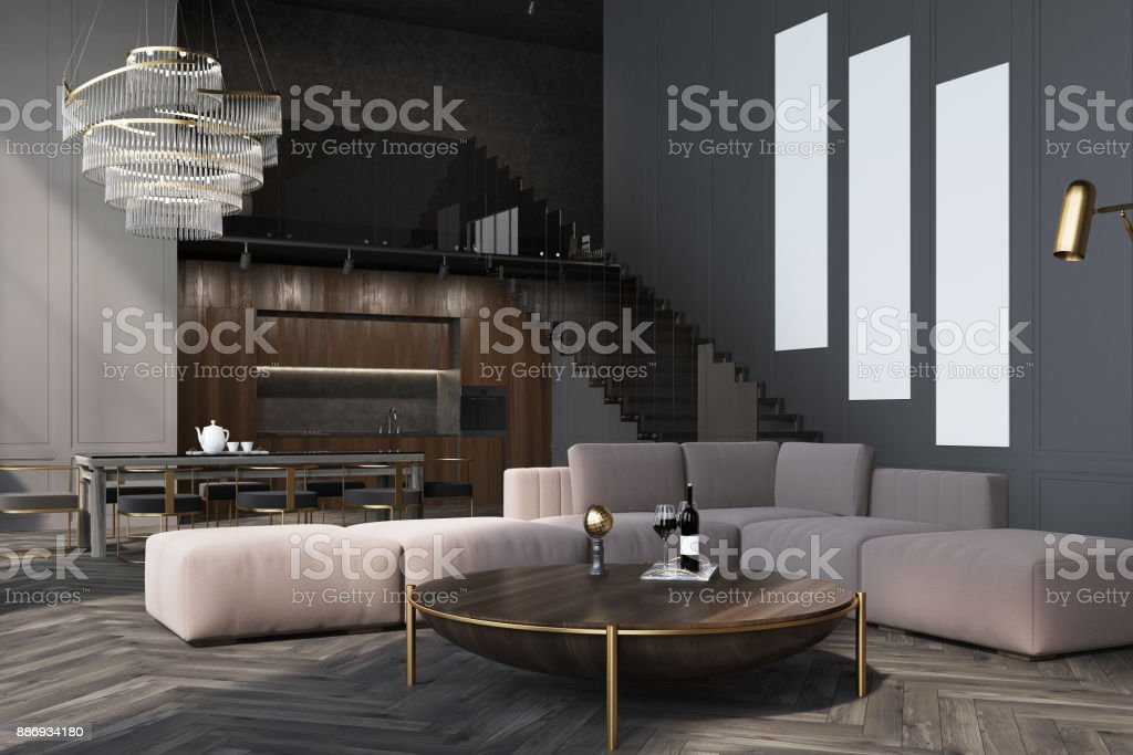 Gray living room, poster gallery side stock photo