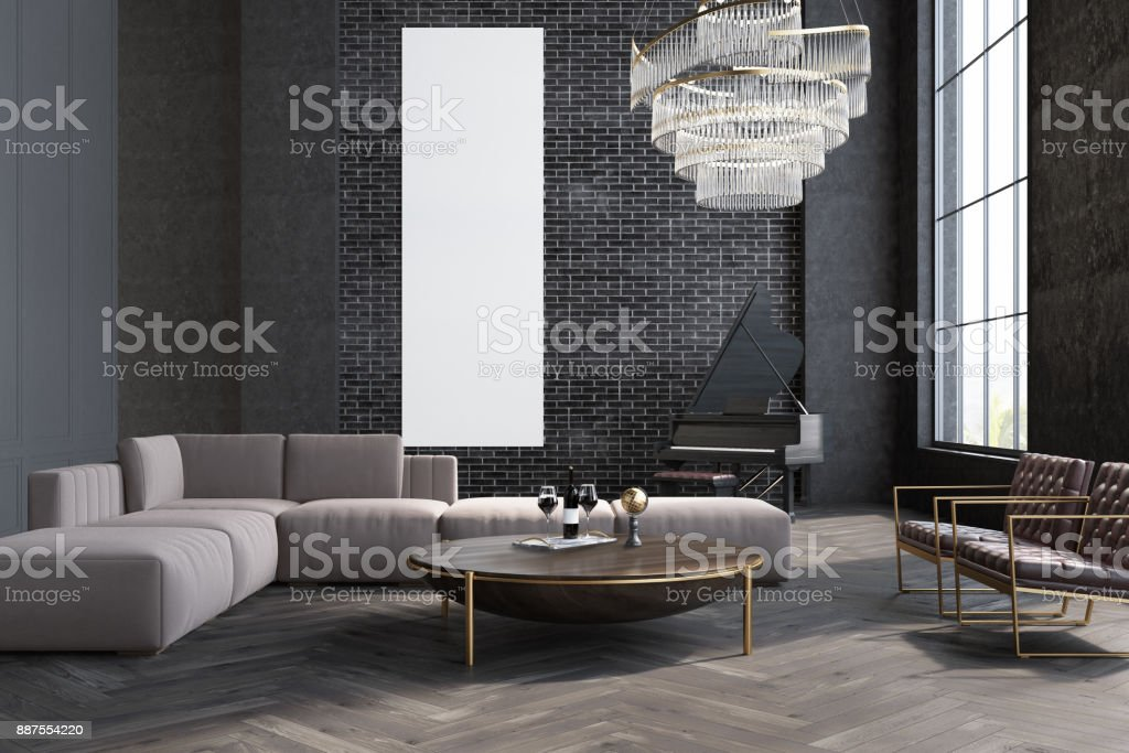 Gray living room, sofa and table, poster stock photo