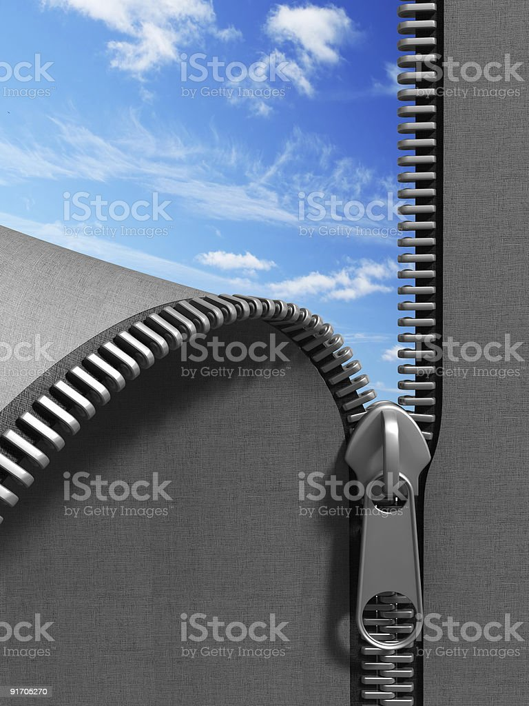 Gray material unzipping to reveal a blue sky stock photo