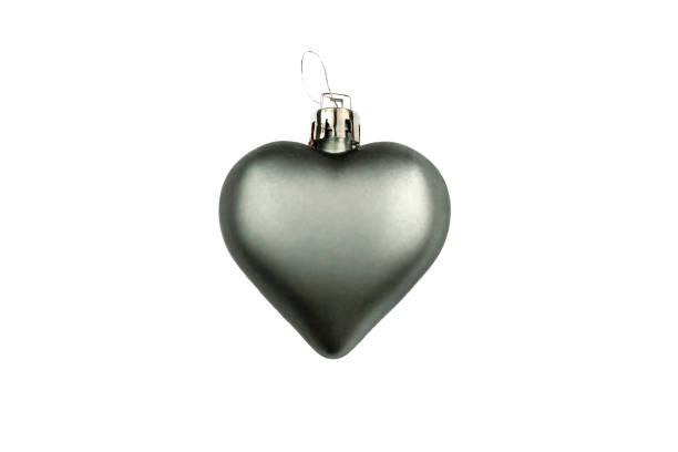 Coeur mat gris, décoration d'arbre de Noel d'isolement sur le fond blanc - Photo