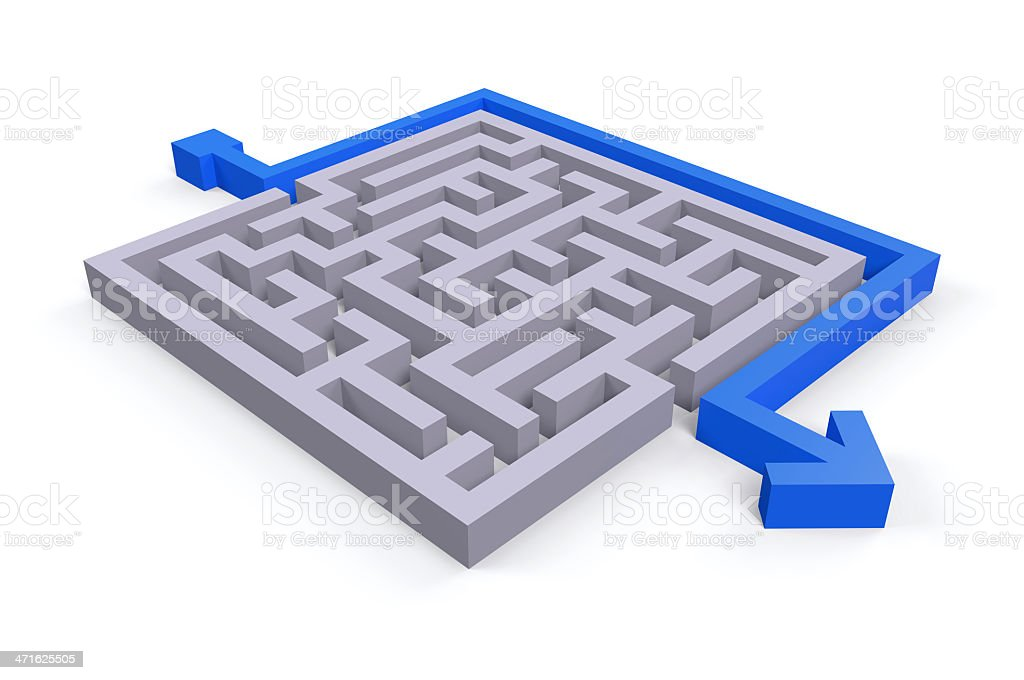 Gray maze with blue arrow around it against white background stock photo