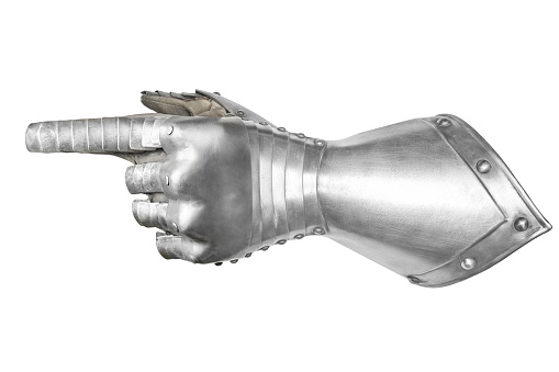 Gray metal knight's glove.