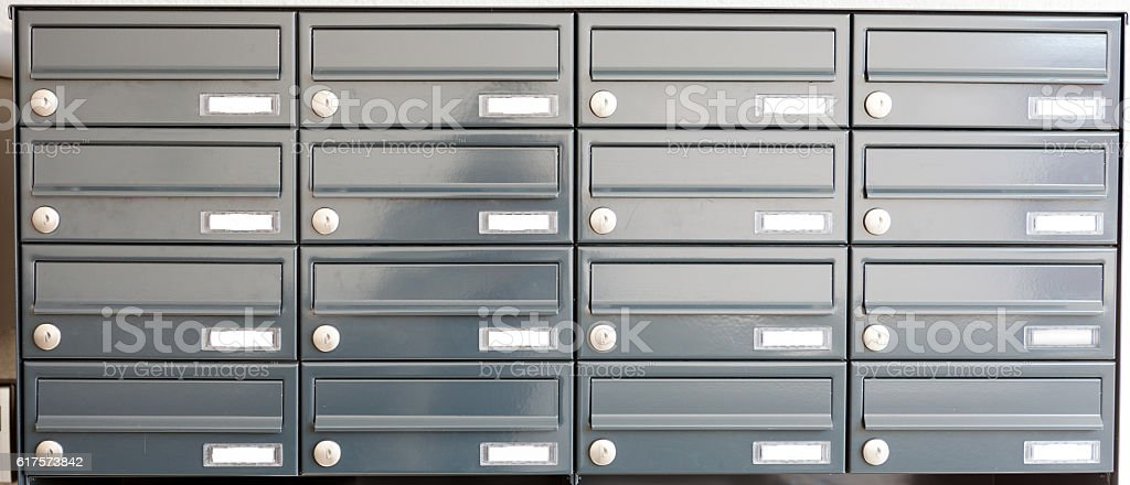 gray metal mail boxes stock photo
