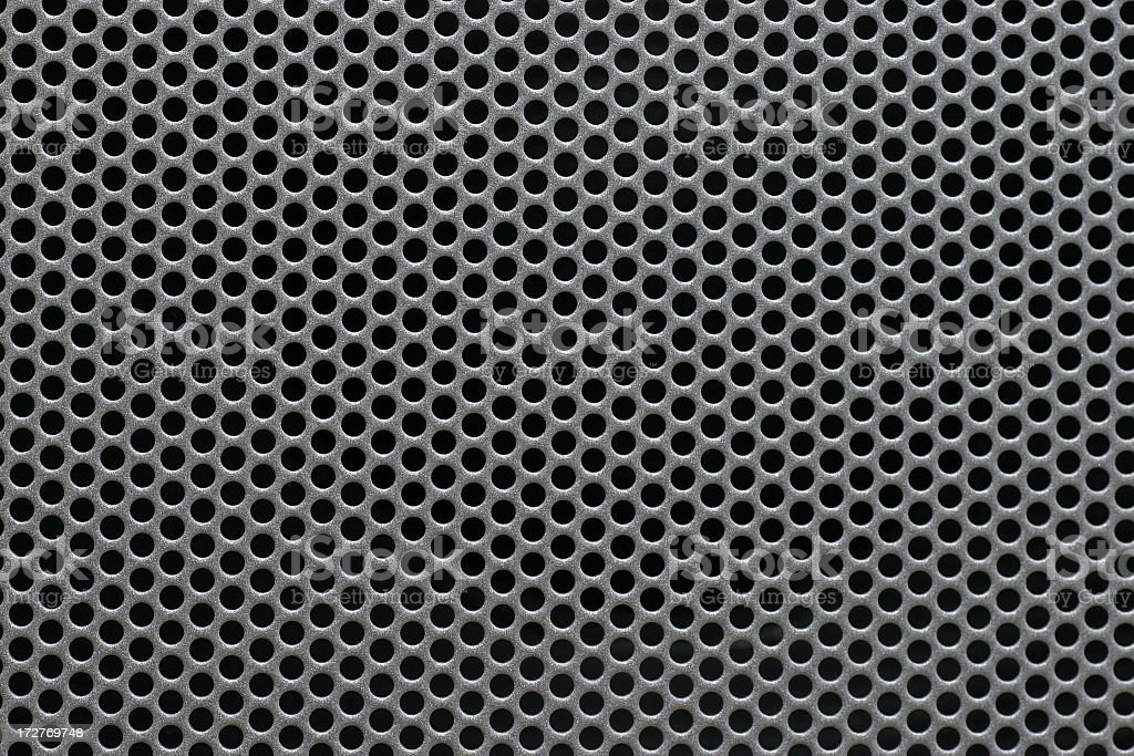 Gray metal mesh background texture on black stock photo