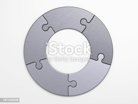 istock Gray metal puzzle pieces joined to form a circle 187405508