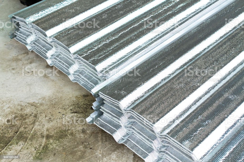 Gray Metal sheets Roofing. stock photo