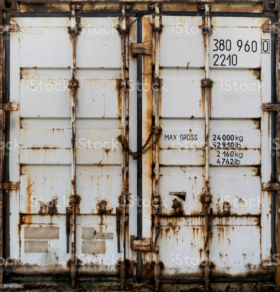 Gray metal shipping container double doors stock photo & Royalty Free Cargo Container Rusty Door Rust Pictures Images and ...