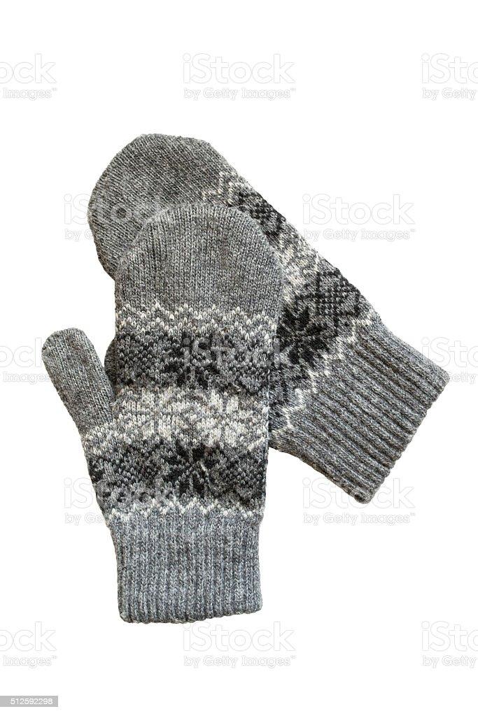 Gray mittens stock photo