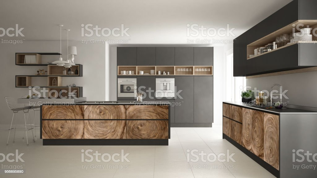 Graue Moderne Minimalistische Küche Mit Klassischen Holz ...