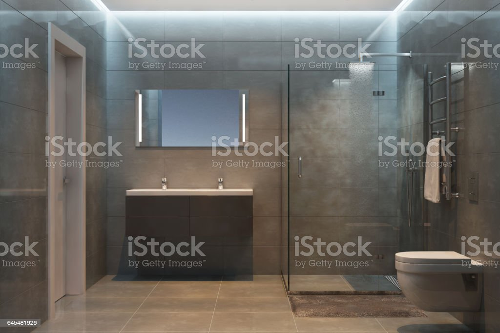 Gray modern shower room in the evening stock photo