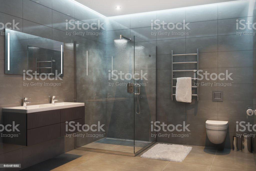 Graue moderne Dusche am Abend Lizenzfreies stock-foto