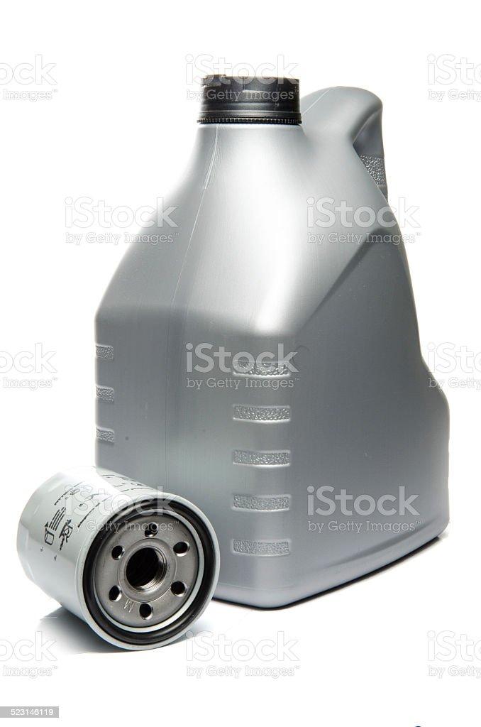 Gray Motor Oil Bottle and Engine Oil Filter stock photo