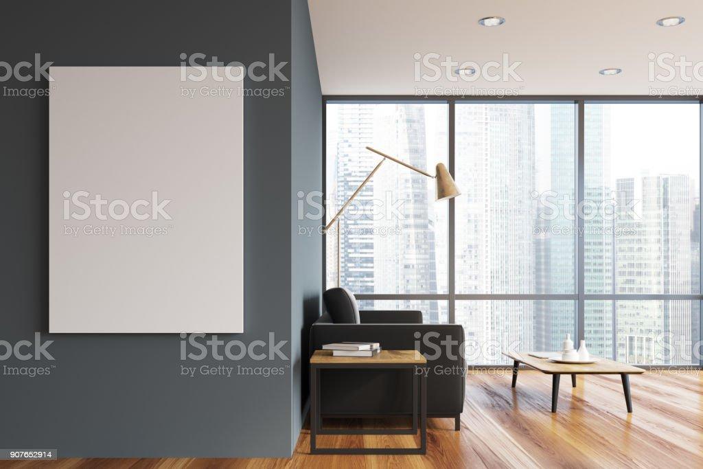 Graue Panorama Wohnzimmer, poster – Foto