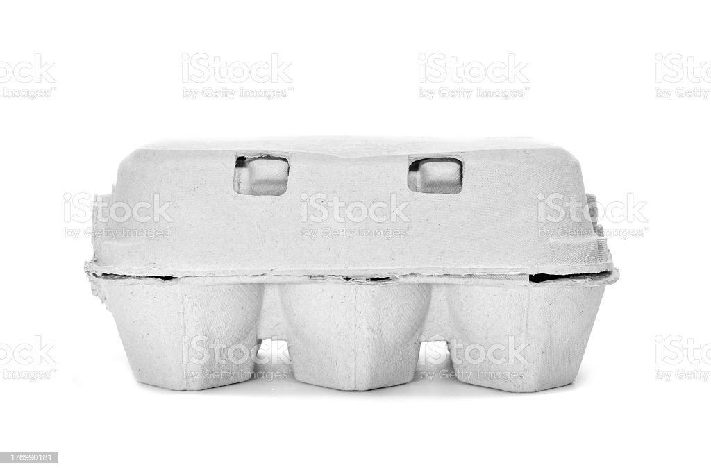 A gray paper egg carton isolated on white stock photo