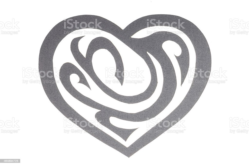 Gray Paper Heart with Ornament Isolated on White stock photo