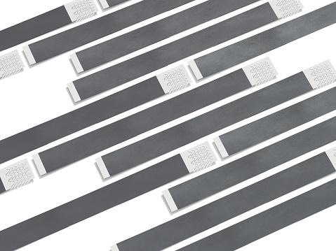istock Gray paper wirstbands. 3d rendering 925750294