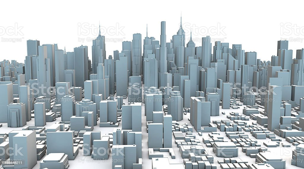Gray Plastic 3D City Skyscrapers stock photo