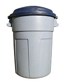 Plastic trash can with clipping path.
