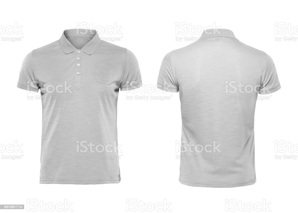 Gray polo tshirt design template isolated on white with clipping path stock photo