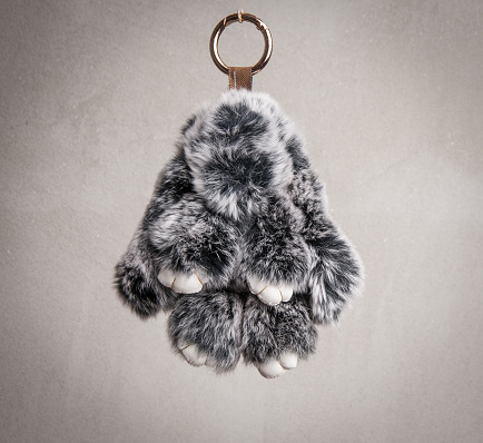 istock Gray puff fur pendant for cellphone 941024212