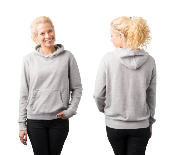 Gray pullover hoodie mockup stock photo