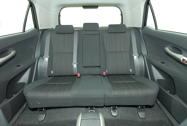 Gray rear 3-seat of SUV vehicle stock photo