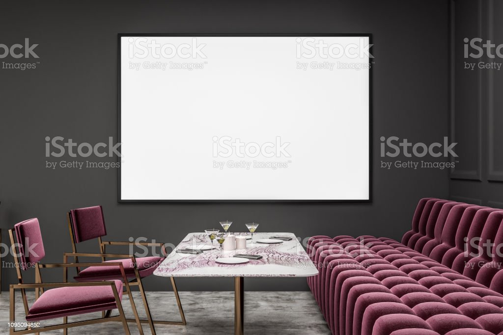 Gray Restaurant With Red Sofa And Chairs Poster Stock Photo Download Image Now Istock