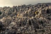 Gray rocky canyon cliff