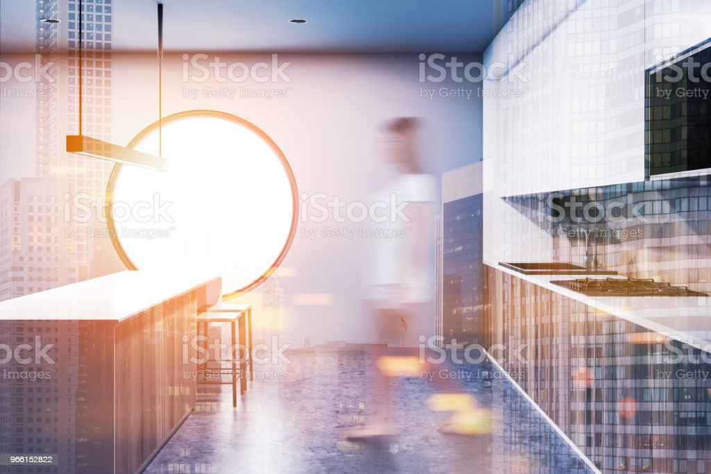 Gray round window kitchen interior blur toned - Royalty-free Adult Stock Photo