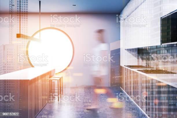Gray Round Window Kitchen Interior Blur Toned — стоковые фотографии и другие картинки Большой