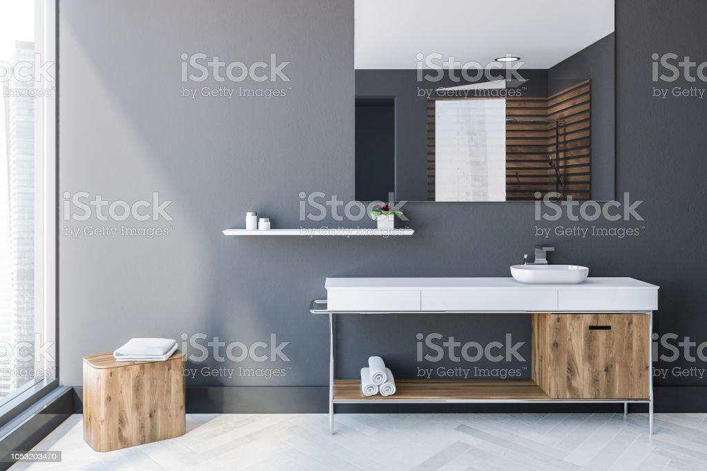 Graue Skandinavischen Stil Badezimmer Interieur Waschbecken ...
